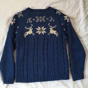 Land's End thick reindeer snowflake sweater medium
